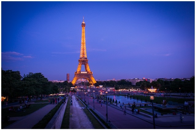 Eiffel Tower sunset in Paris France