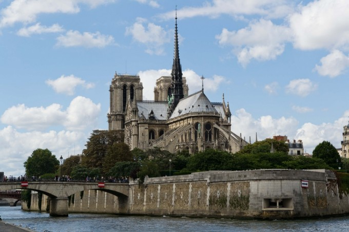 Different landscape view on Notre Dame de Paris