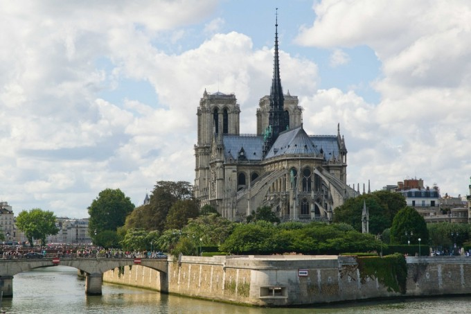 Notre dame view with perfect clouds